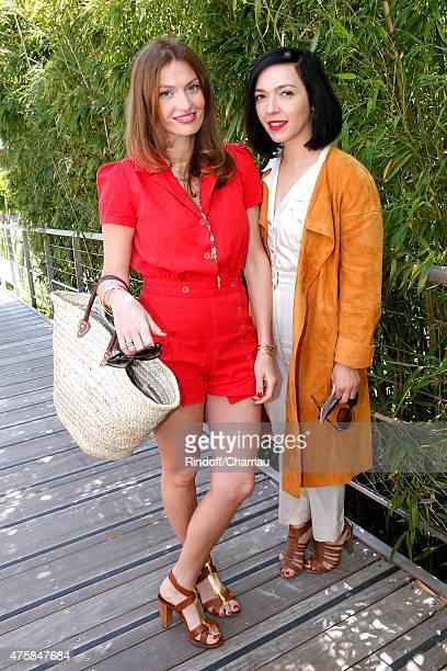 Les Brigitte'; Singers Aurelie Saada and Sylvie Hoarau attend the 2015 Roland Garros French Tennis Open - Day Twelve, on June 4, 2015 in Paris,...