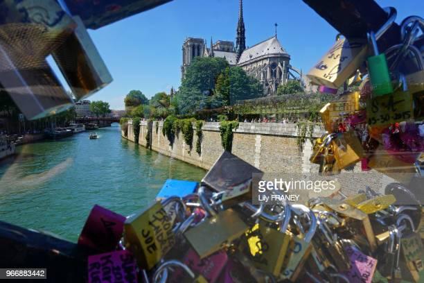 Les cadenas du pont de l'Archevéché avec la Seine et NotreDame 25 juin 2015 Paris France