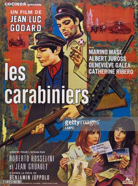 Les Carabiniers poster French poster top from left Marino Mase Patrice Moullet bottom from left Catherine Ribeiro Genevieve Galea 1963