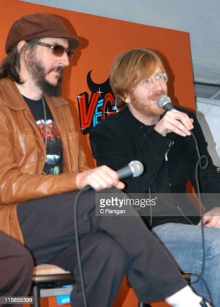 Les Claypool and Trey Anastasio during Vegoose Music Festival 2005 Day 1 Press Conference at Sam Boyd Stadium in Las Vegas Nevada United States