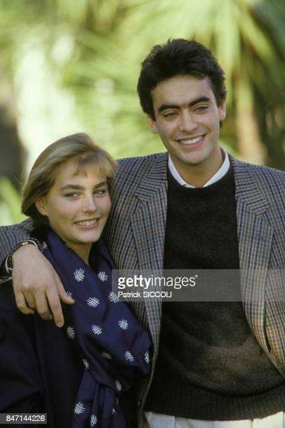 Les comediens Sophie Duez et Anthony Delon le 12 decembre 1985 a Nice France
