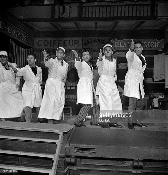 Les Compagnons de la chanson in 'Minnie Moustache' musical western of Jean Broussolle and Andre Hornez Music Georges Van Parys Paris theatre of the...