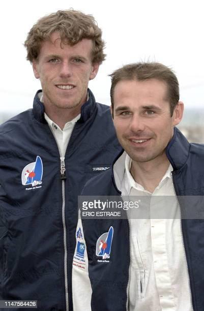 Les coéquipiers Nicolas Le Berre et Gildas Philippe posent le 29 avril 2004 à HyèreslesPalmiers dans le cadre de la Semaine Olympique Française de...