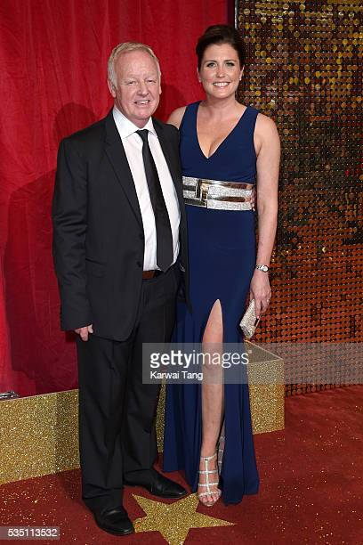 Les Dennis and Claire Nicholson arrive for the British Soap Awards 2016 at the Hackney Town Hall Assembly Rooms on May 28 2016 in London England