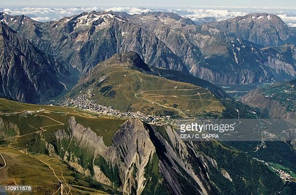 Les Deux Alpes ski resort Ecrins National Park Isere France Aerial view