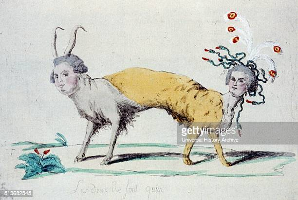 Les deux ne font qu'un Louis XVI and Marie Antoinette as a twoheaded monster pulling in opposite directions Louis wears the horns of a cuckold and...