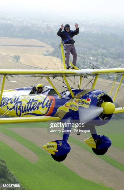 Les 'Dizzy' Seales from Sussex flies into the Guinness Book of Records by becoming the oldest person ever to wingwalk above Goodwood Aerodrome in...