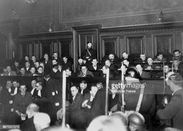 Les députés communistes du 'groupe ouvrier et paysan français' sur le banc des accusés lors de leurs procès à Paris France le 20 mars 1940