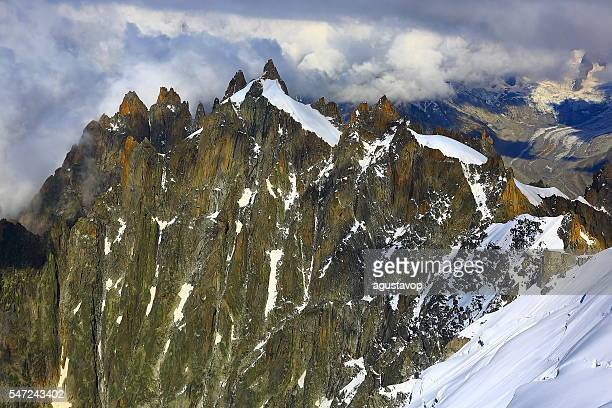 Les Drus glaciers and Grandes Jorasses snowcapped alps