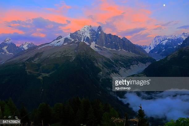 Les Drus Grandes Jorasses dramatic colorful sunset, Mont Blanc Massif