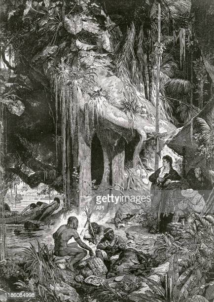 Les explorateurs Alexander von Humboldt et Aimé Bonpland dans la jungle amazonienne, au début du XIXème siècle.