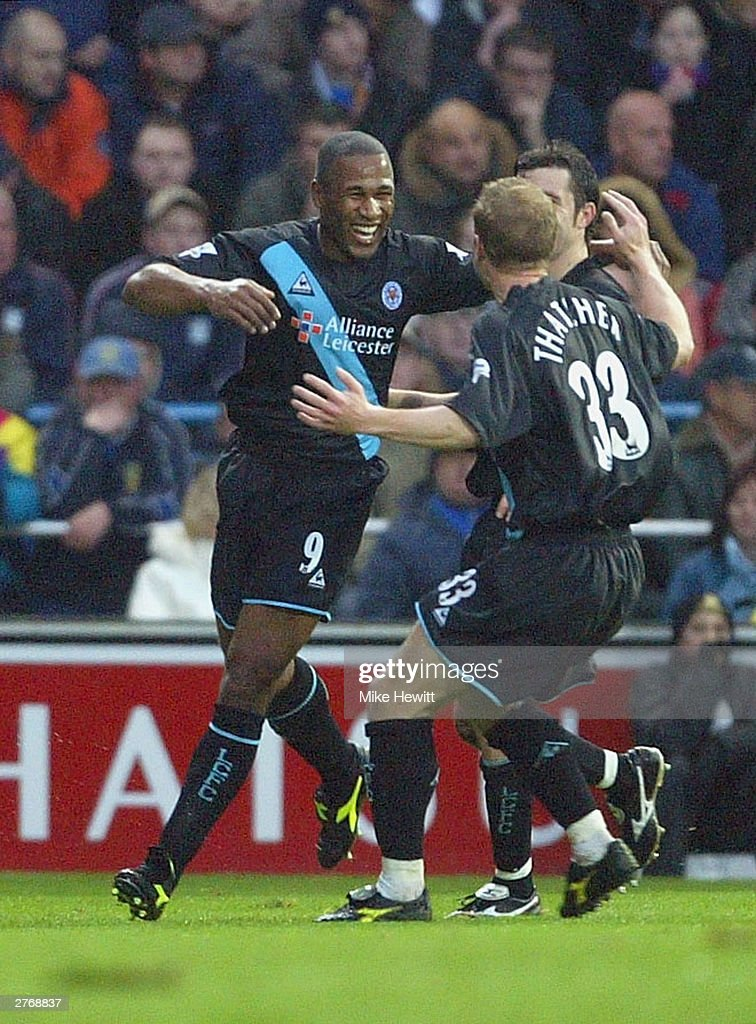 Les Ferdinand of Leicester City celebrates scoring the first goal against Portsmouth during the FA Barclaycard Premiership match between Portsmouth and Leicester City at Fratton Park on November 29, 2003 in Portsmouth, England.