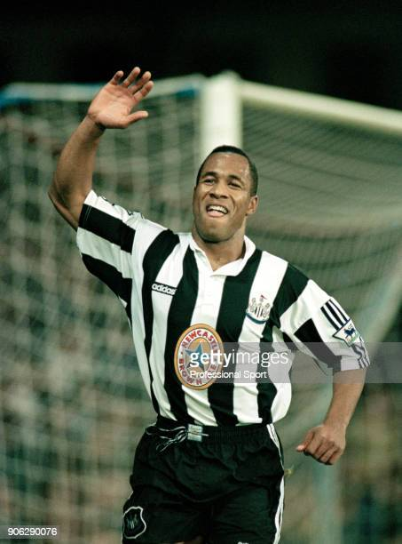 Les Ferdinand of Newcastle United celebrates his goal during the FA Carling Premiership match between Wimbledon and Newcastle United at Selhurst Park...