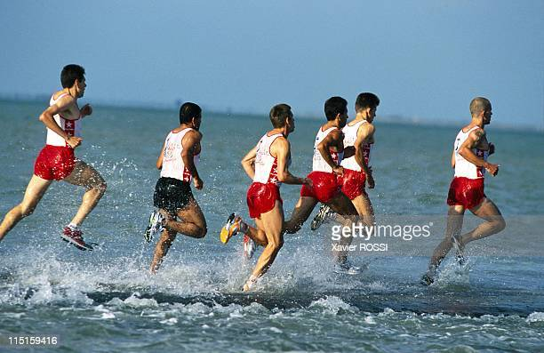 'Les foulees du Gois' race in the sea in Ile De Noirmoutier France on June 24 2000