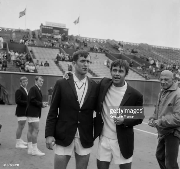 Les français Georges Goven et François Jauffret à l'issue de la première journée de Coupe Davis où la France mène par 2 à 0 contre la Norvège au...