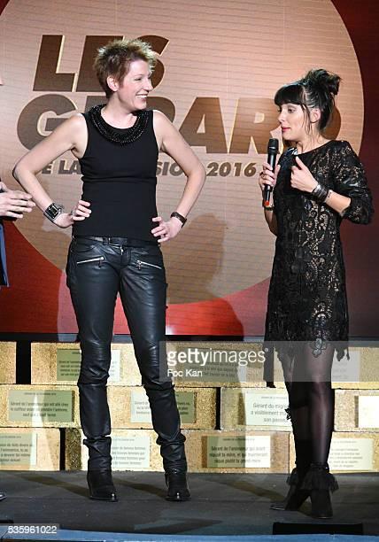 Les Gerards 2016 awarded TV presenter Natacha Pologny and Erika Moulet attend 'Les Gerard De La Television 2016' Awards Ceremony At Theatre Daunou on...