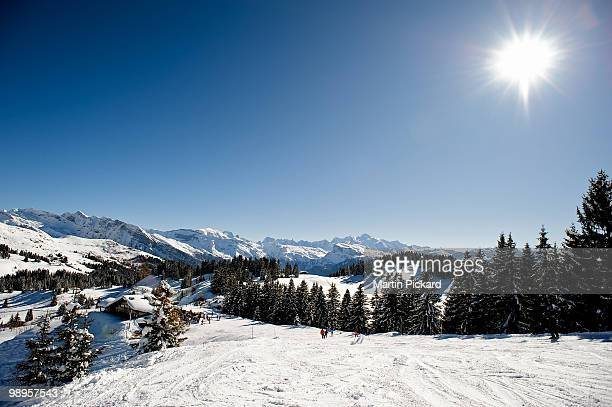 Les Gets winter scene, towards Mount Blanc.