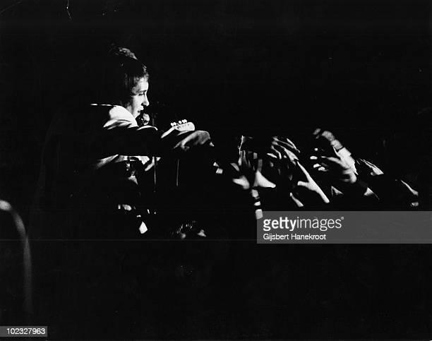 Les Gray from Mud performs live on stage in Hereford England in 1974