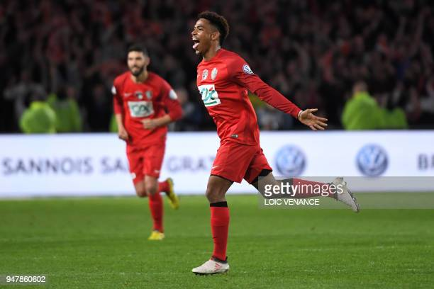 Les Herbiers' Amboise Gboho celebrates with teammates after scoring during the French cup semifinal match between Les Herbiers and Chambly at The...