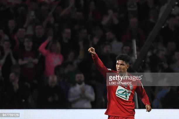 Les Herbiers' Florian David celebrates after scoring a goal during the French Cup semifinal football match between Les Herbiers and Chambly at the...