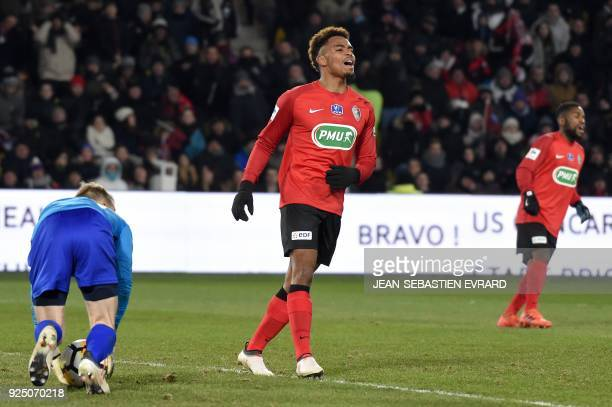 Les Herbiers' French forward Ambroise Gboho reacts during the French football Cup quarterfinal match between Les Herbiers and Lens at The Beaujoire...