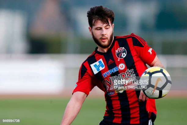 Les Herbiers' midfielder Valentin Vanbaleghem controls the ball during the French National league football match between Avranches and Les Herbiers...