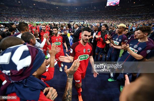 TOPSHOT Les Herbiers' players are applauded at the end of the French Cup final football match between Les Herbiers and Paris SaintGermain on May 8...