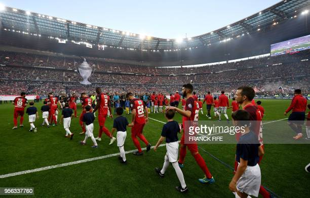 Les Herbiers' players arrive for the French Cup final football match between Les Herbiers and Paris SaintGermain on May 8 2018 at the Stade de France...