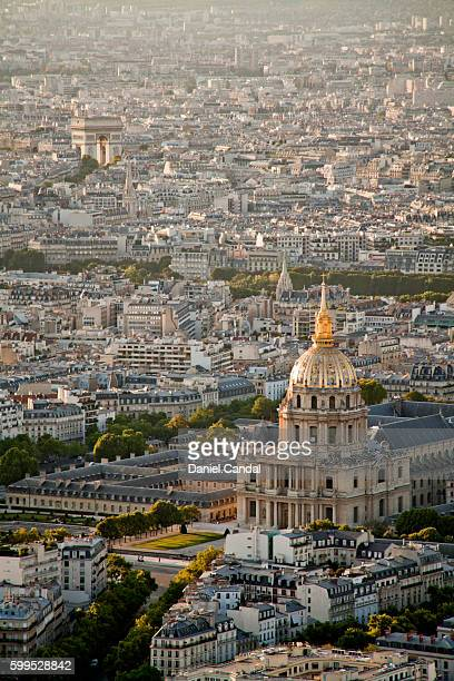 Les Invalides and the Arch of Triomphe aerial view at dusk, Paris (France)