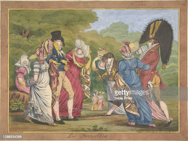 Les Invisibles Hand-colored etching with roulette, Sheet: 9 5/16 x 12 7/8 in. , Prints, William Brocas , After James Gillray , This caricature,...
