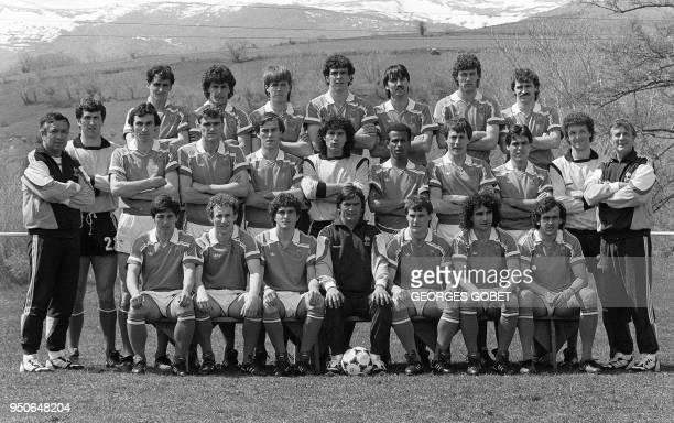 les joueurs de l'équipe de France de football posent le 07 mai 1986 à FontRomeu
