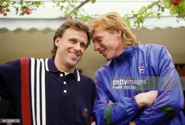 Les joueurs de tennis Bjorn Borg et Boris Becker au tournoi de Monaco le 17 avril 1988 a Monaco