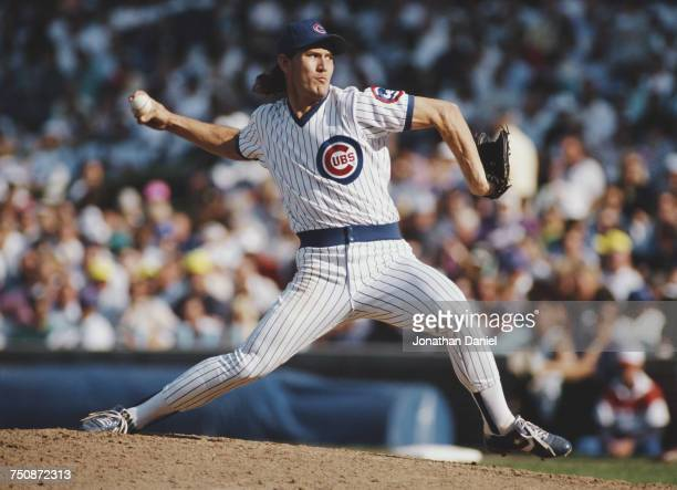 Les Lancaster pitcher for the Chicago Cubs on the mound preparing to throw a pitch during the Major League Baseball National League East game against...