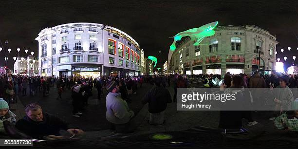 Les Lumineoles by artist Porte par le vent is exhibited on Picadilly during the Lumiere London festival on January 16 2016 in London England The...