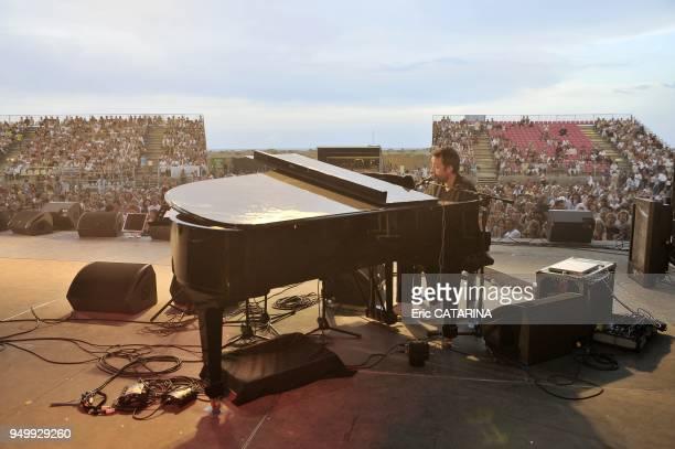 Les Mediterraneennes de Leucate Music Festival French singer Bertrand Soulier performing Live