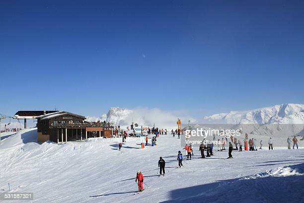les menuires, french alps - trois vallees stock photos and pictures