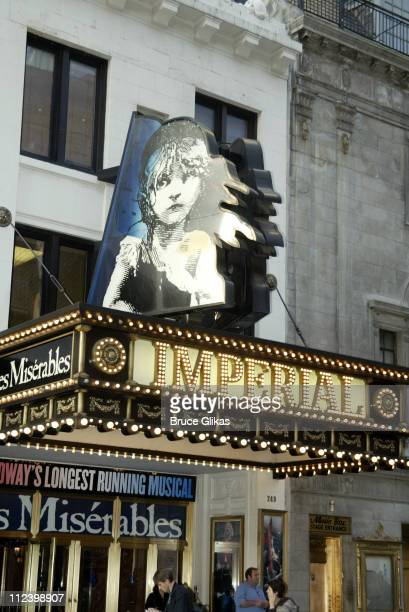 Les Miserables marquee during The Final Performance of Broadway's LongRunning Tony AwardWinning Musical Les Miserables at The Imperial Theatre The...