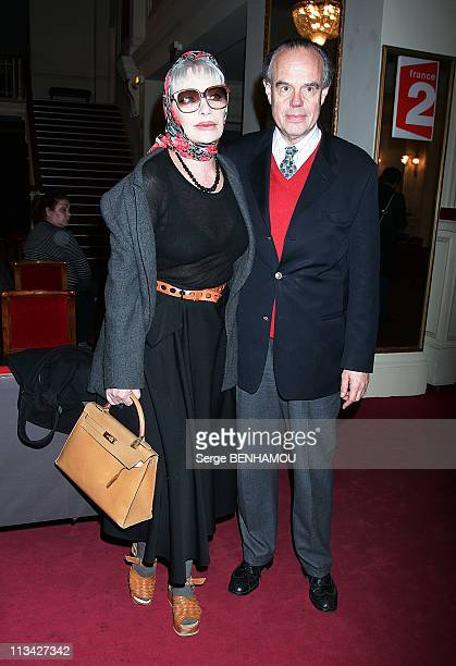 'Les Molieres' Press Conference At The 'Theatre De Paris' In Paris France On March 30 2009 Marie Laforet and Frederic Mitterand
