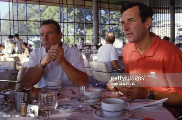 Les navigateurs français Eric Tabarly et son frère Patrick avant le départ de la course La BauleDakar en octobre 1987 France