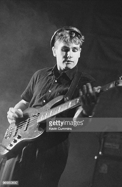 Les Pattinson bassist of British band Echo and the Bunnymen performs on stage at the Royal Court Theatre in Liverpool England on December 09 1981