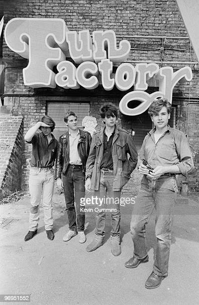 Les Pattinson Pete De Freitas Ian McCulloch and Will Sergeant of British band Echo and the Bunnymen outside the the Granada television studio for the...