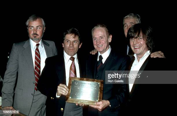 Les Paul and Rick Derringer during Les Paul receives the Governors Award of New York State from the National Academy of Recording Arts Sciences at...