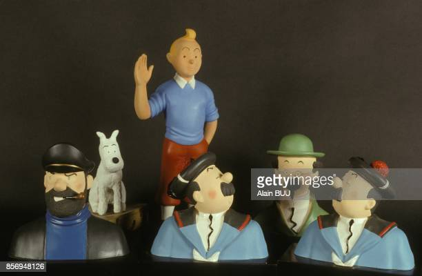 Les personnages des albums de Tintin a l'exposition Tintinomania le 4 decembre 1990 a Paris France