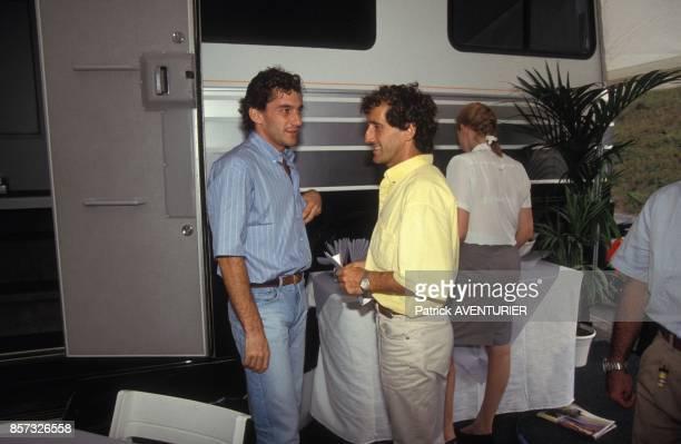 Les pilotes de Formule 1 Ayrton Senna et Alain Prost lors du Grand Prix de Hongie le 16 aout 1992 a Budapest Hongrie