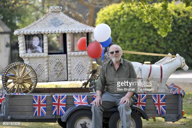 Les Pocklington from Long Lane Newbury with his handmade miniature carriage made of concrete and metal adorned with hundreds of seashells