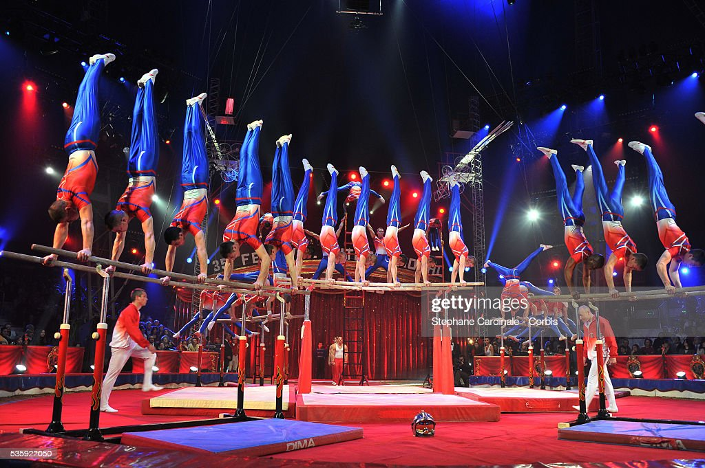 'Les Pompiers de Paris' perform during the 35th International Circus Festival 2011, in Monaco.