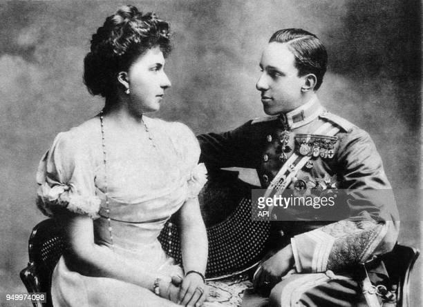 Les époux royaux d'Espagne Victoria Eugénia et Alfonso XIII Madrid Espagne
