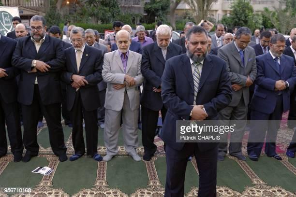 Les principaux leaders de la confrerie des Freres musulmans lors de l' inauguration du siege de la confrerie le 21 mai 2011 au Caire, Egypte. A...