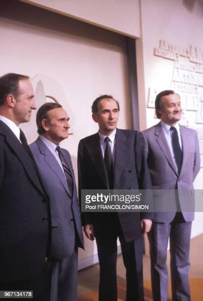 Les quatre ministres communistes du gouvernement Mauroy Anicet Le Pors Marcel Rigout Charles Fiterman et Jack Ralite à Antenne 2 le 24 mai 1981 à...