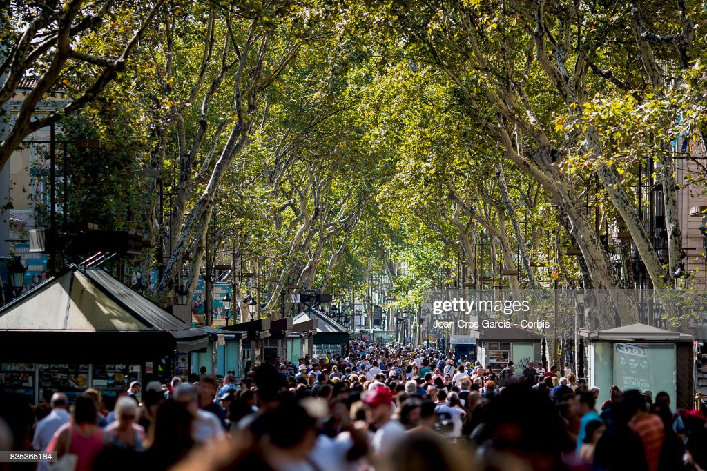 Les Rambles, where the terrorist attack took place, full of people the day after the terrorist attack on August 18, 2017 in Barcelona, Spain.